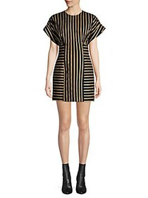 CMEO COLLECTIVE Striped Dolman Sleeve Dress BLACK