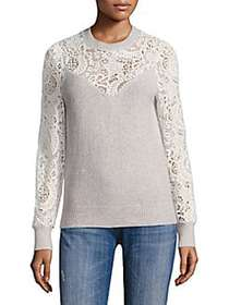 Rebecca Taylor Wool-Blend Lace Pullover LIGHT GREY