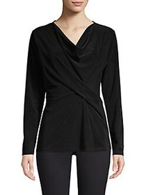 Donna Karan Twist Front Long Sleeve Top BLACK