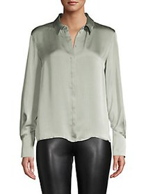 The Fifth Label Satin Button Front Shirt SEAFOAM
