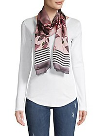 Vince Camuto Floral & Stripe Silk Scarf WOOD ROSE