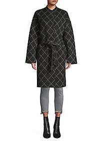 Joie Shaurya Windowpane Check Wrap Coat CAVIAR