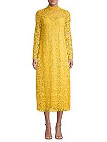 Valentino Lace Stretch-Silk Midi Dress YELLOW