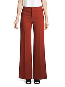 Chloé Wide-Leg Wool Pants GINGER RED