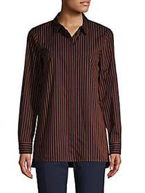 Lafayette 148 New York Pinstriped High-Low Cotton