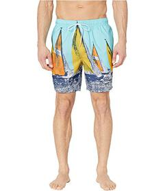 Nautica Vintage Racing Printed Swim Trunks