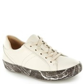 Womens Leather Paint Splatter Comfort Sneakers