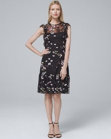 ML Monique Lhuillier Sleeveless Floral-Embroidered
