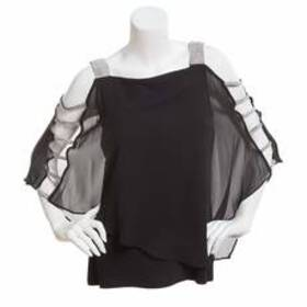 MSK Rhinestone Capelet Overlay Cold Shoulder Elbow