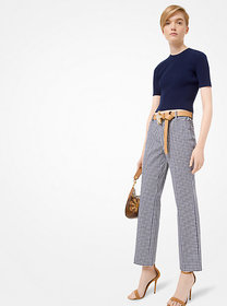 Michael Kors Gingham Stretch-Cotton Trousers