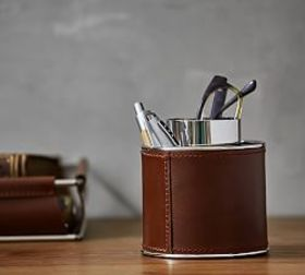 Pottery Barn Drake Leather Desk Caddy