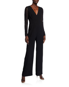BCBGMAXAZRIA Lace-Sleeve Wide Leg Jumpsuit