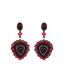 Oscar de la Renta - Beaded Heart Clip-On Drop Earr