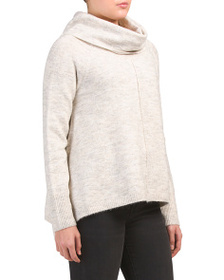 FOR THEE Juniors Cowl Neck Center Seam Sweater