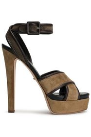 SERGIO ROSSI Hannelore leather-trimmed suede platf