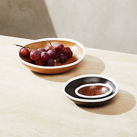 Crate Barrel Astra Small Mango Wood Bowls, Set of