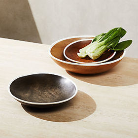 Crate Barrel Astra Large Mango Wood Bowls, Set of
