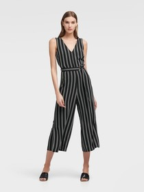 Donna Karan Striped V-Neck Jumpsuit