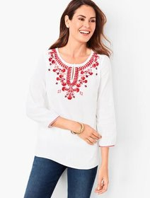 Talbots Embroidered Crinkle Gauze Popover