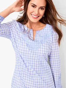 Talbots Embroidered Gingham Popover