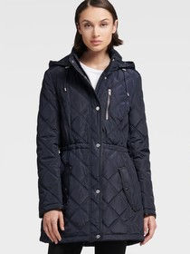 Donna Karan QUILTED CINCHED WAIST JACKET