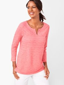 Talbots Textured Split-Neck Top - Space-Dyed
