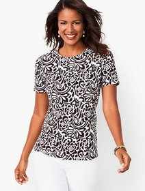 Talbots Cotton Crewneck Tee- Abstract Floral