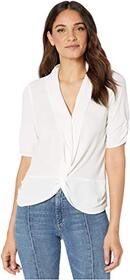 1.STATE Cinched Sleeve Twist Front Blouse