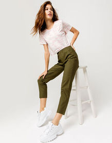 SKY & SPARROW Crop Olive Womens Pants_
