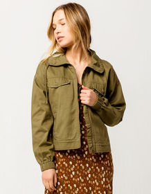 SKY AND SPARROW Twill Olive Womens Anorak Jacket_