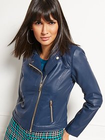 Faux-Leather Stitched Moto Jacket - New York & Com