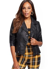 Faux-Leather Snap Moto Jacket - New York & Company