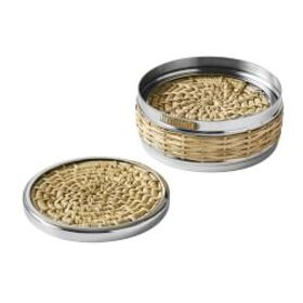 AERIN Woven & Silver Coasters with Holder, Set of