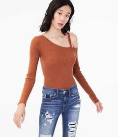 Aeropostale Long Sleeve Ribbed One-Shoulder Bodyco