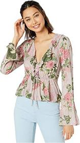 BCBGeneration Bow Front Long Sleeve Woven Top TLR1