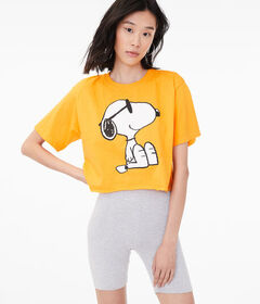 Aeropostale Sunglasses Snoopy Cropped Graphic Tee