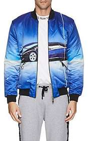 Blood Brother Car-Print Satin Bomber Jacket