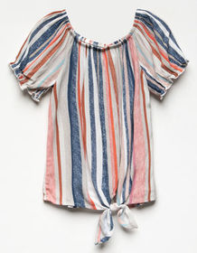 WHITE FAWN Stripe Tie Front Girls Off The Shoulder