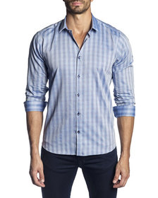 Jared Lang Men's Semi-Fitted Washed-Stripe Long-Sl