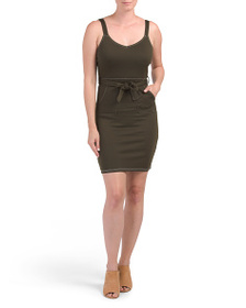 ALMOST FAMOUS Juniors Contrast Stitching Dress