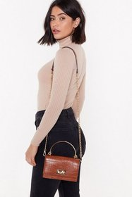 Nasty Gal Womens Brown Croc You Out Pearl Faux Lea