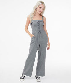 Aeropostale Houndstooth Lace-Up Jumpsuit