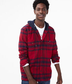 Aeropostale Long Sleeve Plaid Hooded Button-Down S