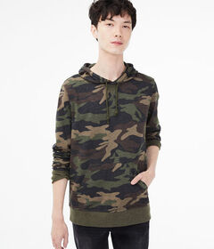 Aeropostale Long Sleeve Camo Hooded Tee