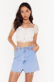 Nasty Gal Womens Cream Don't Go Square Puff Sleeve