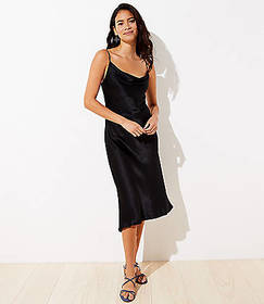 Petite Draped Midi Slip Dress