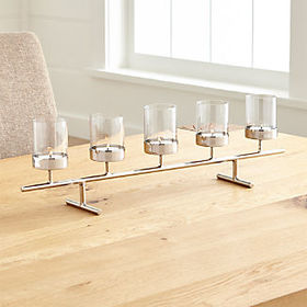 Crate Barrel Asta Silver Tealight Centerpiece
