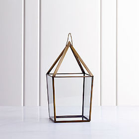Crate Barrel Lillian Brass Metal Large Lantern