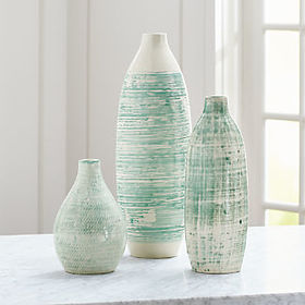 Crate Barrel Camila/Cara/Celeste White and Aqua Va