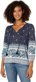 Lucky Brand 3/4 Sleeve Placed Print Knit Peasant T